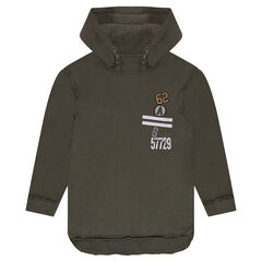Junior - Long hooded sweatshirt with badges and prints