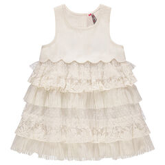 Bi-material dress with frills in lace and tulle