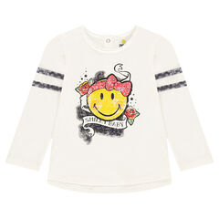 Long-sleeved slub jersey tee-shirt with a rock-style ©Smiley print