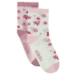 2-pair set of socks with jacquard flowers and scalloped rib ends