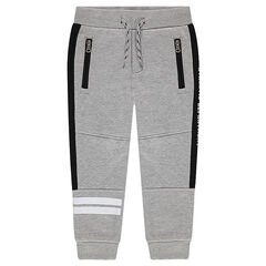 Sweatpants with printed bands and zipped pockets