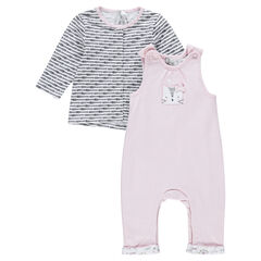 Long-sleeved tee-shirt and embroidered overalls newborn ensemble