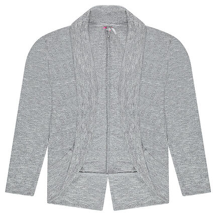 Cable knit no-button cardigan