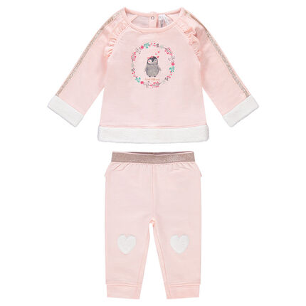 Light fleece sweatsuit with golden hints and penguin print