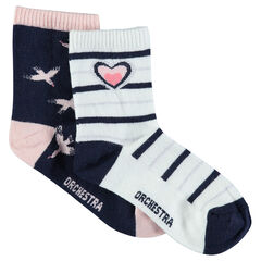Set of 2 pairs of assorted socks with birds and stripes