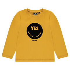 Long-sleeved tee-shirt with felt ©Smiley print