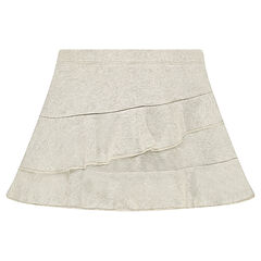 Frilled skirt in thin fleece mixed with shiny thread