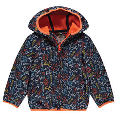 Windbreaker with an allover print and microfleece lining