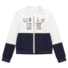 Junior - Fleece two-tone jacket with patched and embroidered messages