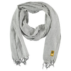 Scarf with fine stripes and fringes
