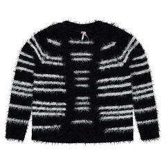 Junior - Striped fur-effect knit cardigan