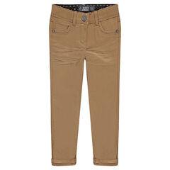 Plain-colored slim fit twill pants