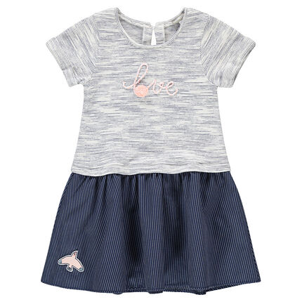 Short-sleeved bi-material dress with a message in cord