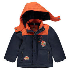 Two-tone rubber parka with sherpa lining and sandwich patches