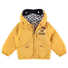Windbreaker with printed lining and mask motif on the hood