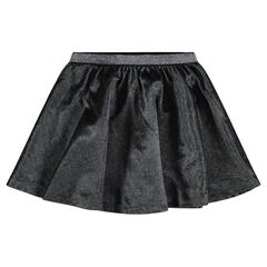 Velvet skater skirt with a shiny waistband