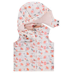 Sleeveless sherpa-lined padded jacket with flowers printed all over