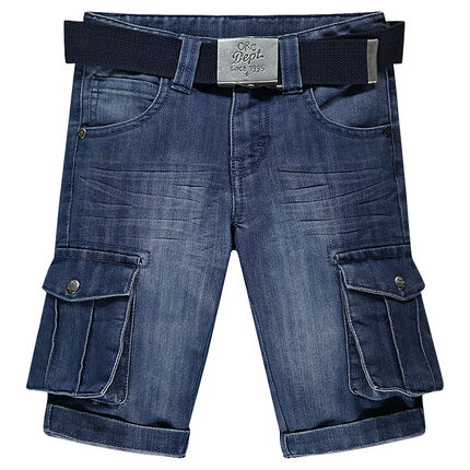 Distressed denim bermuda shorts with pockets and belt