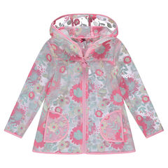 Transparent hooded windbreaker with flowers