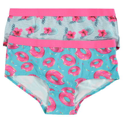 Junior - Set of 2 cotton shorties with pineapple/doughnuts print