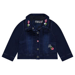Used-effect denim jacket with a crowned cat embroidered in back