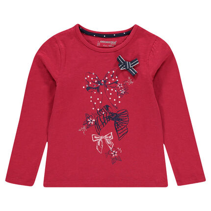 Long-sleeved tee-shirt with bow print