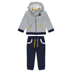 Bi-material sweatsuit ensemble with stripes and sparkles