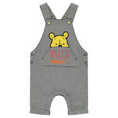 Short gingham overalls with a Winnie the Pooh print in front