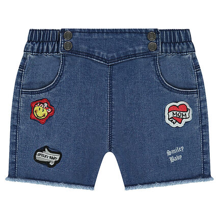 Used-effect officer-style denim shorts with ©Smiley badges