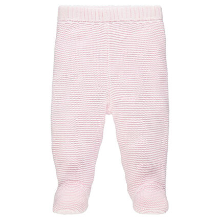 Thick knit pants with closed feet