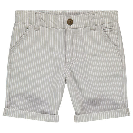 Above-the-knees cotton bermuda shorts with vertical stripes