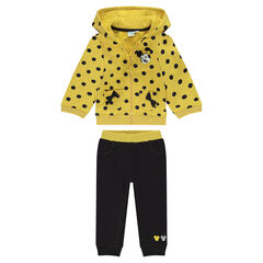 Yellow and gray Disney Minnie Mouse fleece sweatsuit