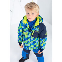 Two-tone ski jacket with zipped pockets and printed bands