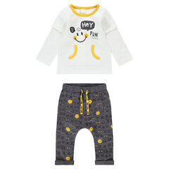 Ensemble with a 2-in-1 effect tee-shirt and jersey pants with an allover ©Smiley print