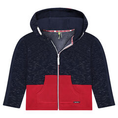 Junior - Two-tone fleece jacket with trendy bias trim and a printed hood