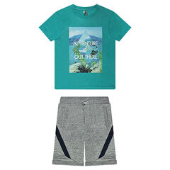 Junior - T-Shirt Set in Printed Jersey and Twill Bermudas