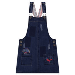 Used-effect denim overall dress with embroidery