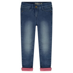 Microfleece-lined distressed crinkled jeans