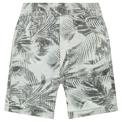 Reversible bermuda shorts with 1 printed twill side and 1 plain blue jersey side