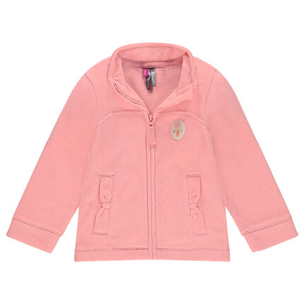 Microfleece jacket with pockets and bows