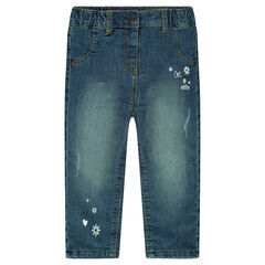 Microfleece-lined used and crinkled effect jeans with prints