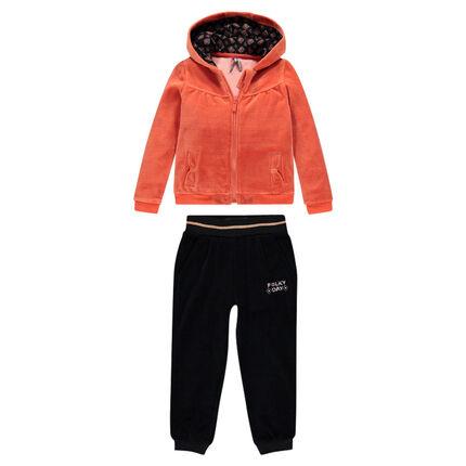 Two-tone velvet jogging suit