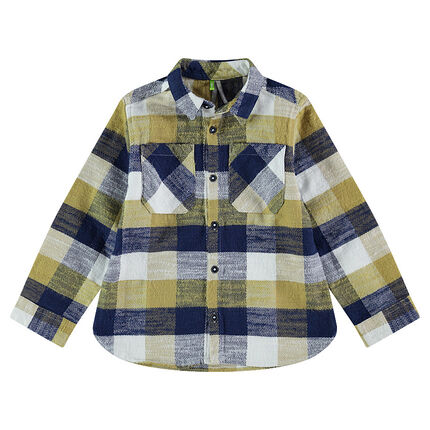 Long-sleeved shirt with contrasting checks and pockets