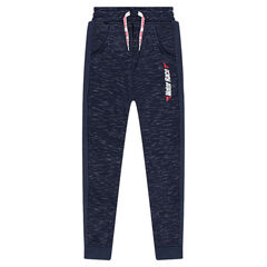 Junior - Twisted fleece sweatpants with zippers and a printed message