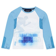 Tee-shirt with long raglan sleeves and sports-style print