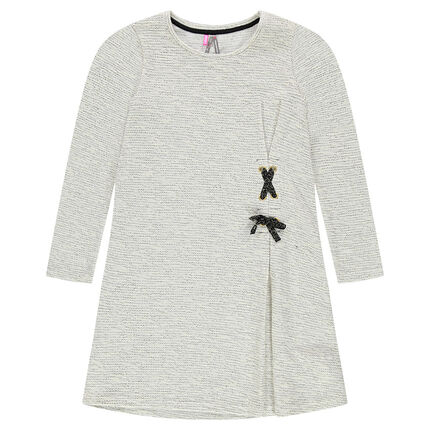 Junior - Long-sleeved mixed knit dress with lacing detail