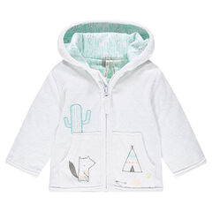 Hooded jacket with jersey lining, prints and embroidery
