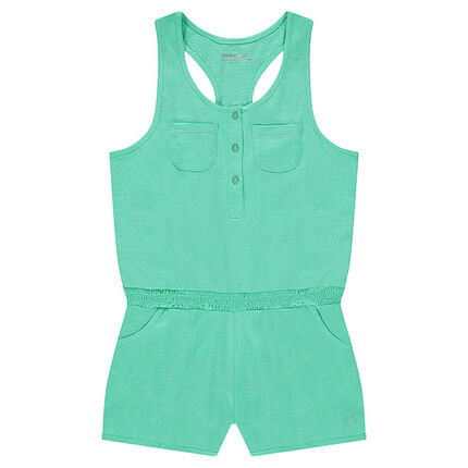 Sleeveless romper with elastic waistband