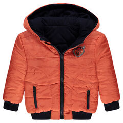 Two-tone reversible quilted down jacket