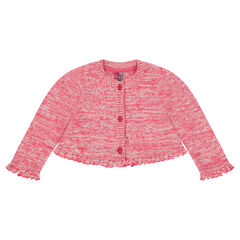 Bolero-style knit cardigan with frills